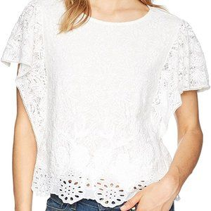 Lucky Brand White Lace eyelet short sleeve Top